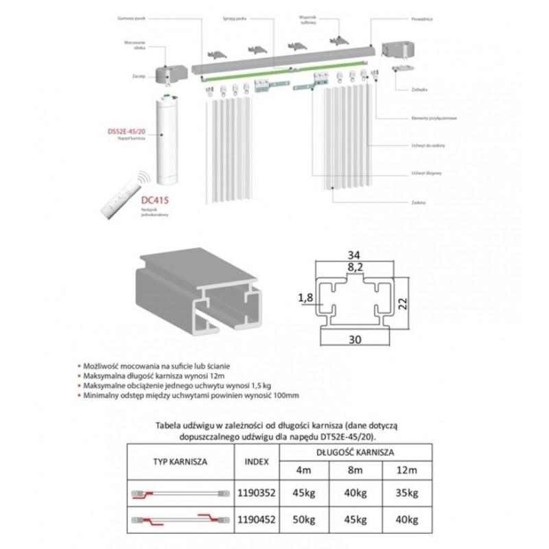 Silnik radiowy do zasłon DT52E-60/20